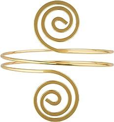 SIX Upperarm-Cuff in Spiralform: Goldfarbener Armreif für den Oberarm, Armspange mit gedrehten Spiralen an den Enden, Eisen, Durchmesser ca. (460-923)