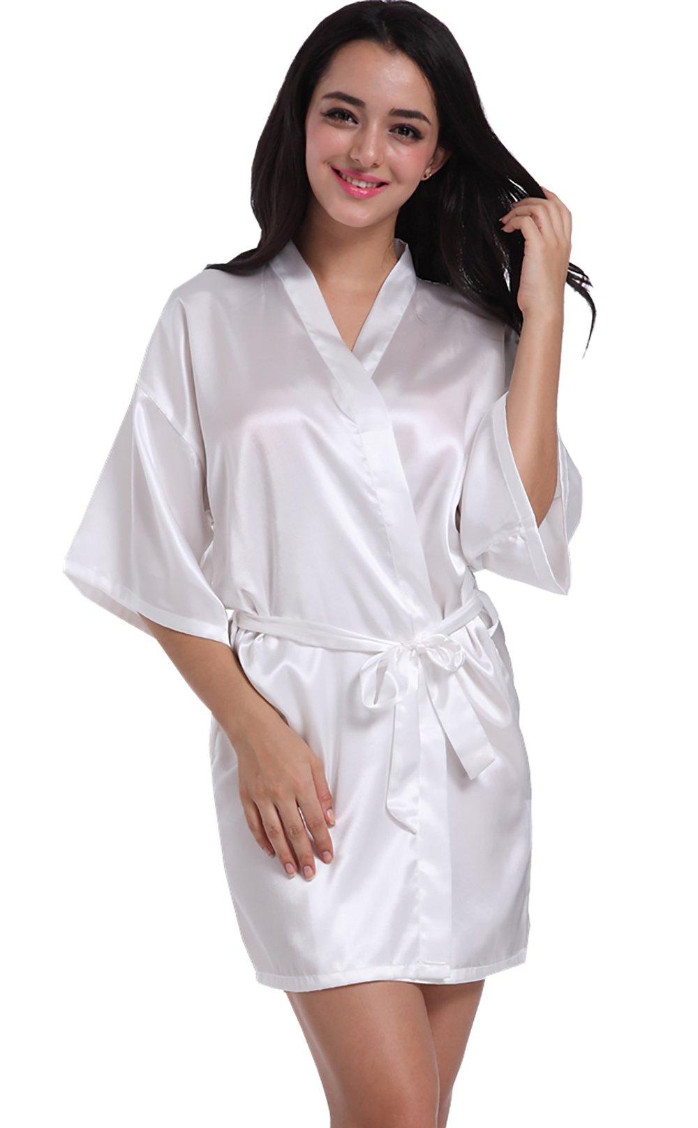 Admireme Women's Kimono Robes Satin Nightdress Pure Colour Short style with Oblique V-Neck white medium short