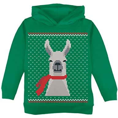 Amazon.com: Ugly Christmas Sweater Big Llama Green Toddler Hoodie ...