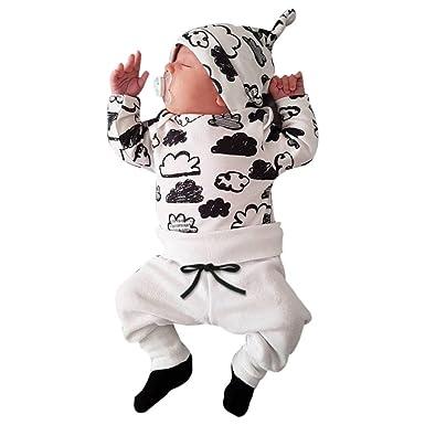 6c6f88659b PINEsong Neugeborenes Kind Baby Junge und Mädchen Cloud Print Baumwolle O  Ansatz T-Shirt Tops + Hosen Outfits Kleidung Set