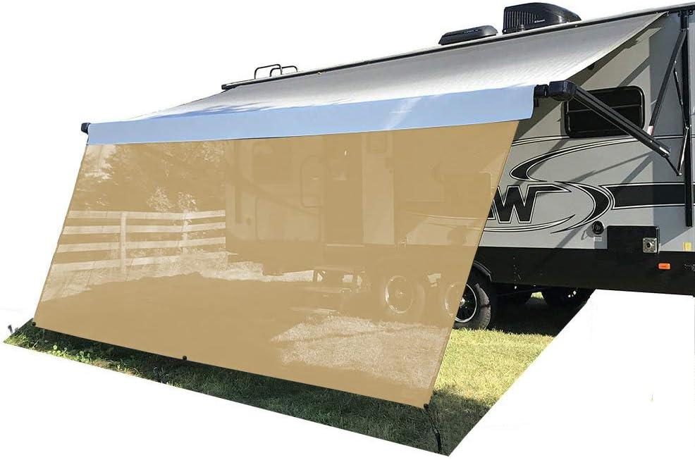 Tentproinc RV Awning Sun Shade Screen 8 X 13 3 – Beige Mesh Sunshade UV Blocker Complete Kits Motorhome Camping Trailer Canopy Shelter – 3 Years Limited Warranty