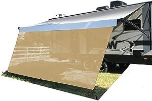 Tentproinc RV Awning Sun Shade Screen 8' X 15'3'' - Beige Mesh Sunshade UV Blocker Complete Kits Motorhome Camping Trailer Canopy Shelter - 3 Years Lasting