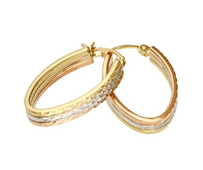 Adara 9 ct Gold Three-Colour Creole Earrings Ayh4w1BeNI