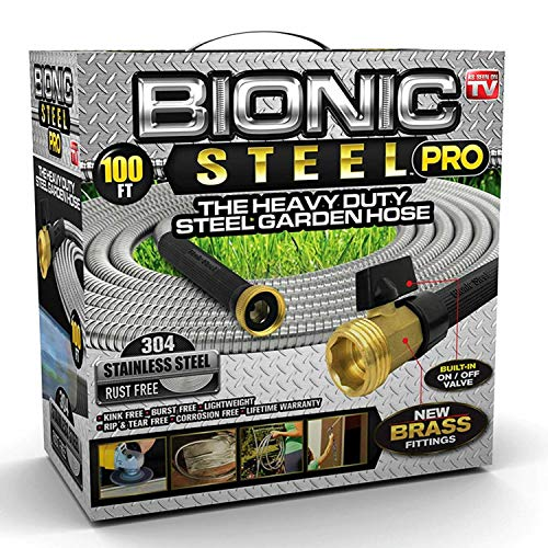 Bionic Steel PRO Garden Hose - 304 Stainless Steel Metal 100 Foot Garden Hose - Heavy Duty Lightweight, Kink-Free, and Stronger Than Ever with Brass Fittings and On/Off Valve - 2019 Model (Stainless Hose Fittings)