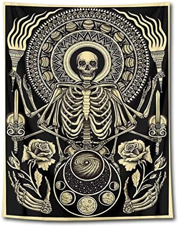HVEST Dead Skull Tapestry Wall Hanging Human Skeleton Trippy Meditation Chakra Wall Tapestry Black Vintage Halloween Tapestry Skull Backdrop for Bedroom Living Room Dorm Decor, 70.9Wx92.5H inches