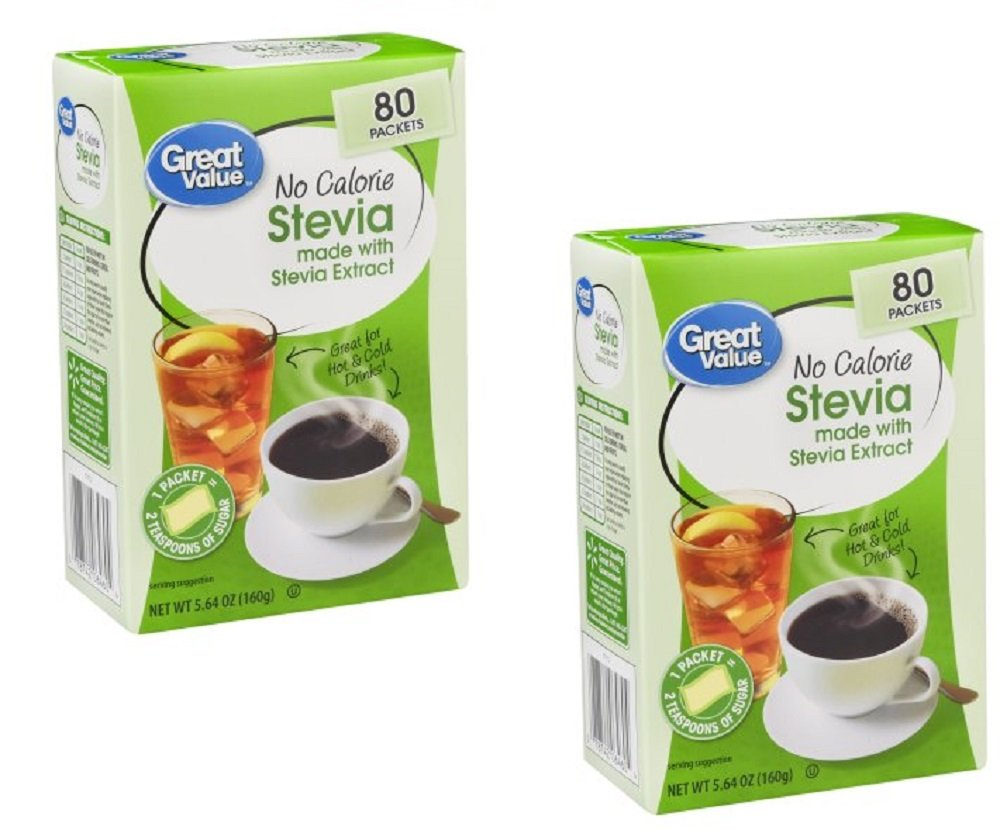 Pack of 2 - Great Value No Calorie Stevia Sweetener Packets, 80ct Box