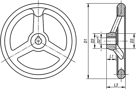 productos: aluminio Kipp mano Rueda con Nut aluminio sin mango 1/pieza k0160.1180/X 16 D1/= 180 D2/= 16