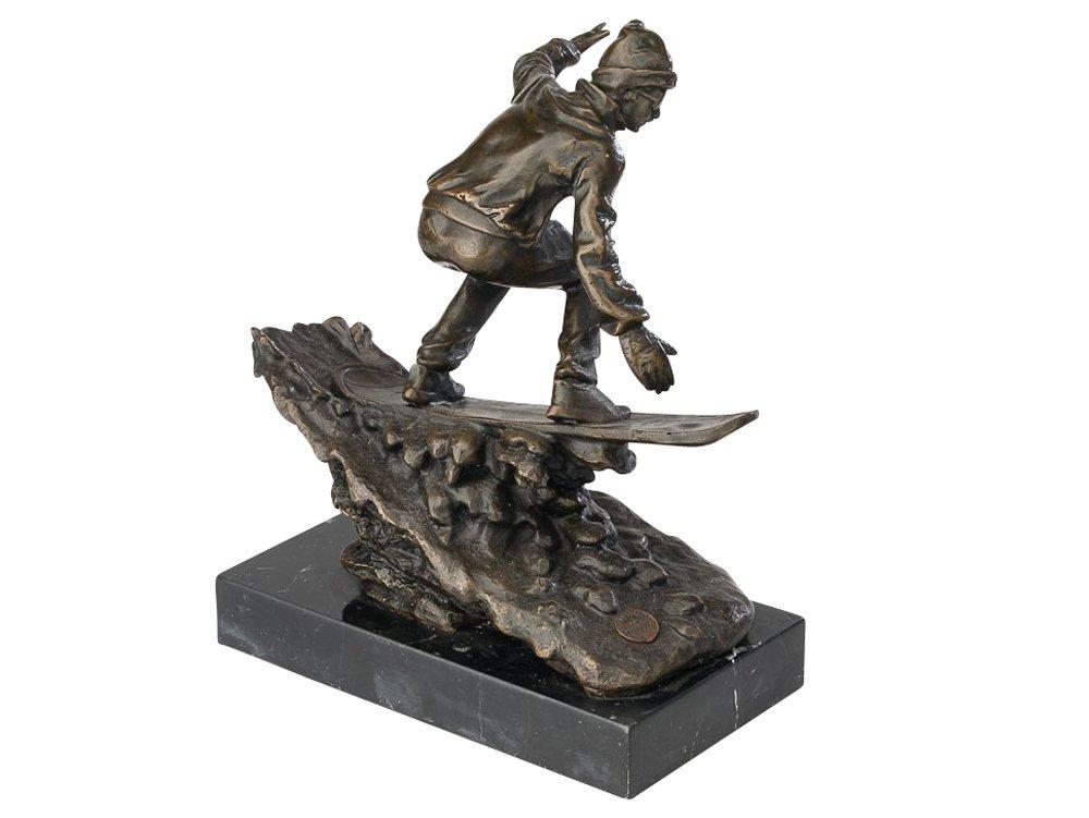Bronzeskulptur Bronze Skulptur Bronzefigur Figur Snowboarder Snowboard