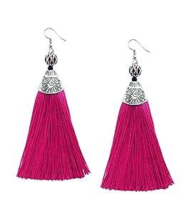 Me&Hz Womens Statement Rose Red Drop Tassel Earrings Long Fringe Beaded Dangle Earring Vintage Jewelry