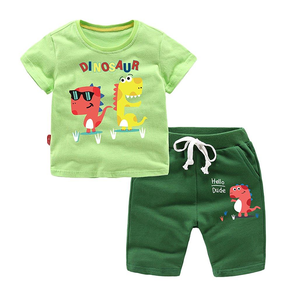 Absolufun Boys/&Baby Fashion Cool Dinosaur Cotton Soft Shorts boy Pajama Set
