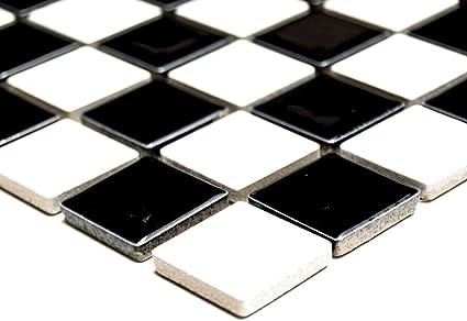 Mosaico piastrelle di rete parete doccia schachbrett nero bianco