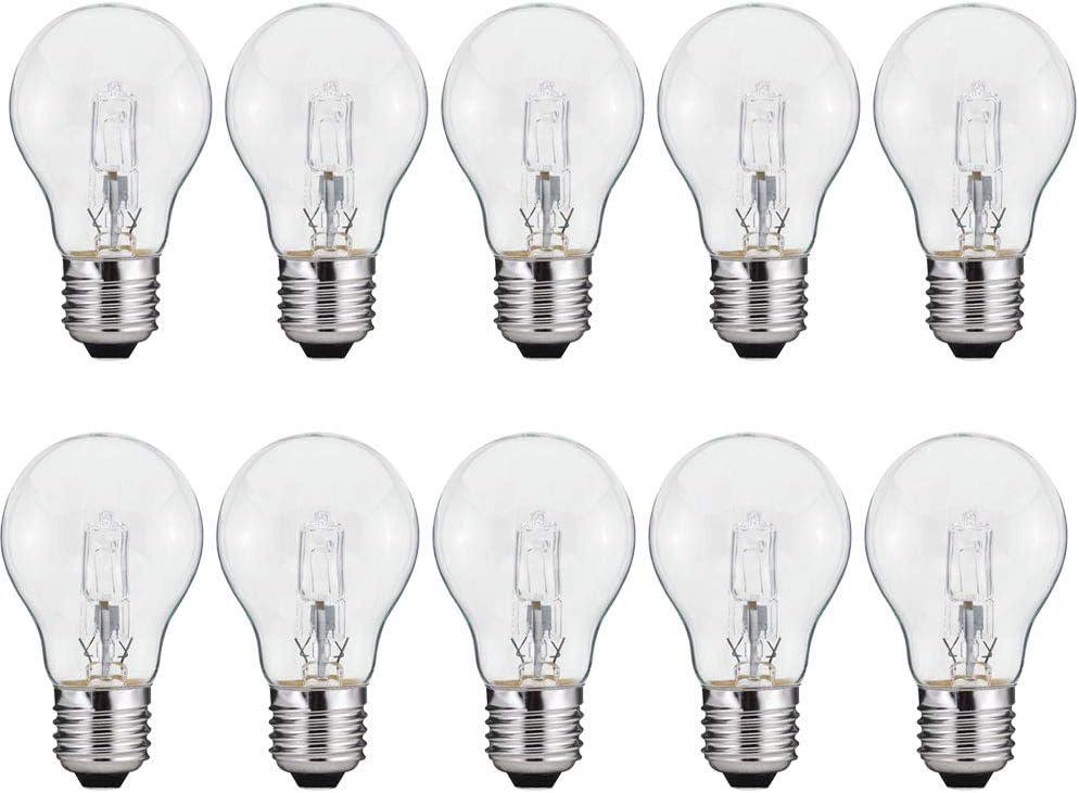 10 X Eco Ampoule Halogène Forme de Poire 70W Presque 100W E27 Transparent