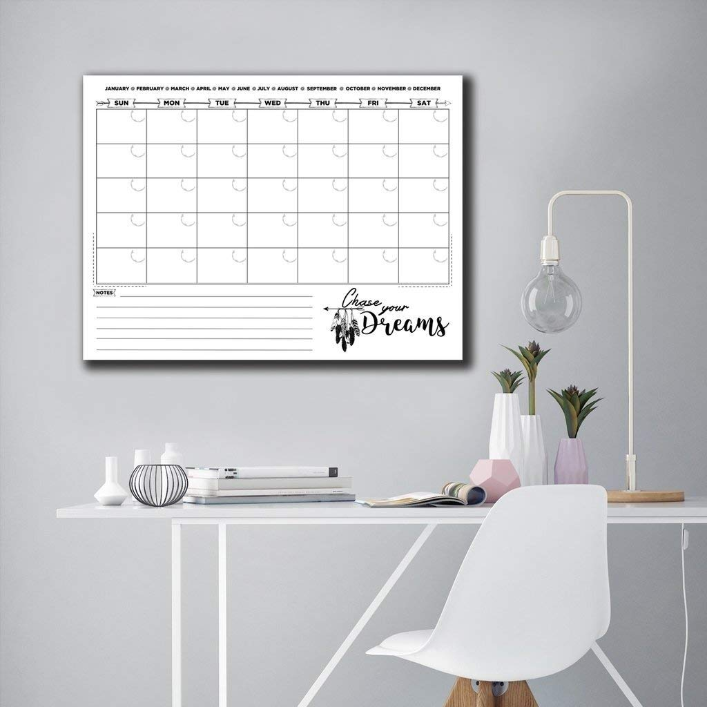 Ready2HangArt R2H Methods 'Chase Your Dreams' Dry Erase Monthly Calendar on ArtPlexi 20 in. h x 30 in. w