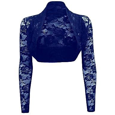 Meet Edge Women s Sheer Long Sleeve Lace Bolero Shrug Jacket Cardigan Top  US6 Navy 4d6fe501a