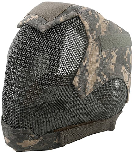 Outgeek Airsoft Mask Full Face Mask War Game Steel Mesh Protective Mask Camouflage 2 (Black) (Dark Camo)