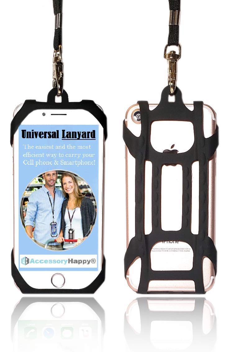 AccessoryHappy Universal Premium Quality 2 in 1 Lanyard & Card Holder, Cell Phone Tether Neck Strap Silicone Smartphone Case for iPhone 5 6 6S 7 8 8 Plus Galaxy S8 S9 Note 8 9 and Most Smartphones by AccessoryHappy
