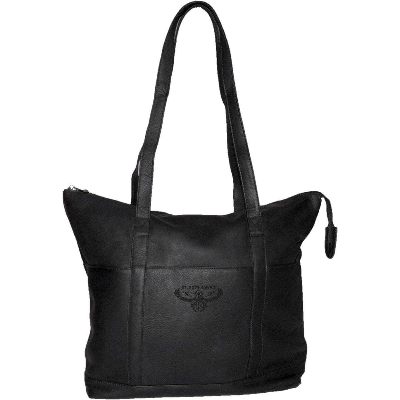 NBA Atlanta Hawks Pangea Black Leather Women's Tote Handbag
