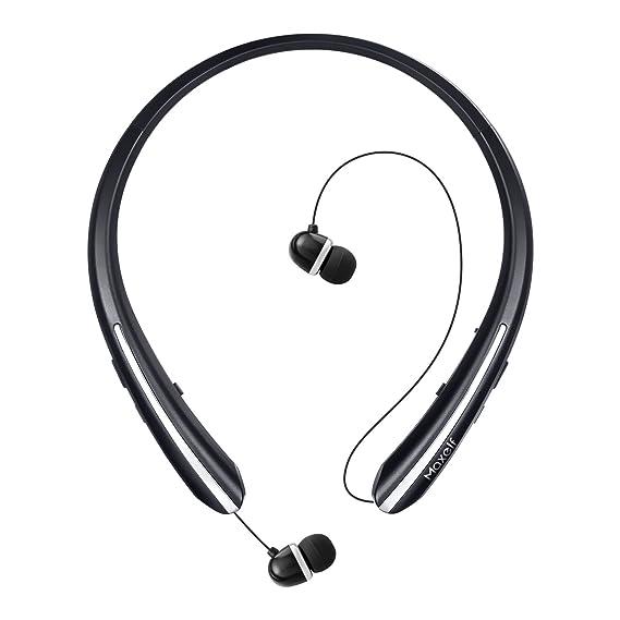 f84e3c14256 Maxelf Wireless Headphones, Retractable Earbuds Ultra Lightweight Sport  Sweatproof Bluetooth 4.1 Headset Noise Cancelling Stereo
