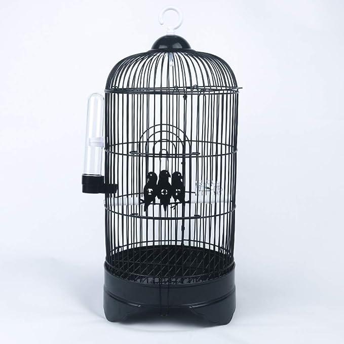 Casa del animal doméstico de acero inoxidable redondo Birdcages, laboratorio salón jaulas de metal púrpura loro, negro, blanco 23 * 23 * 52cm de la jaula (Color: Negro, tamaño: 23 * 23 * 52cm) zhangxu