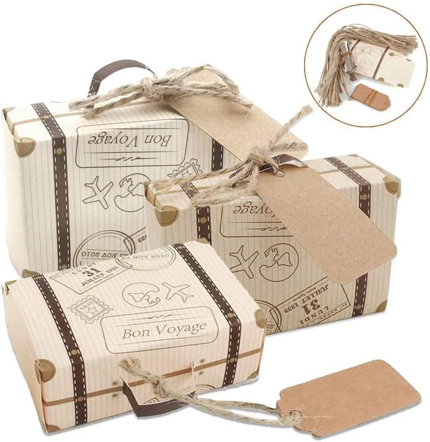 50 PACK Suitcase Favor Boxes Candy Gift Box Vintage Party Favor Boxes for Travel Theme Party Wedding Birthday Bridal Shower