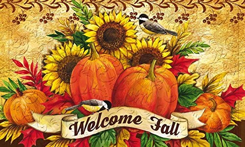 Evergreen Welcome Fall Sunflowers Embossed Floor Mat, 18 x 30 inches