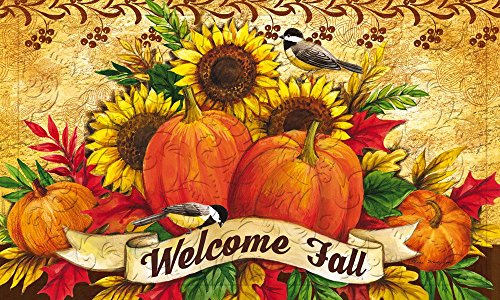 Evergreen Welcome Fall Sunflowers Embossed Floor Mat, 18 x 30 (Fall Leaves Door Mat)
