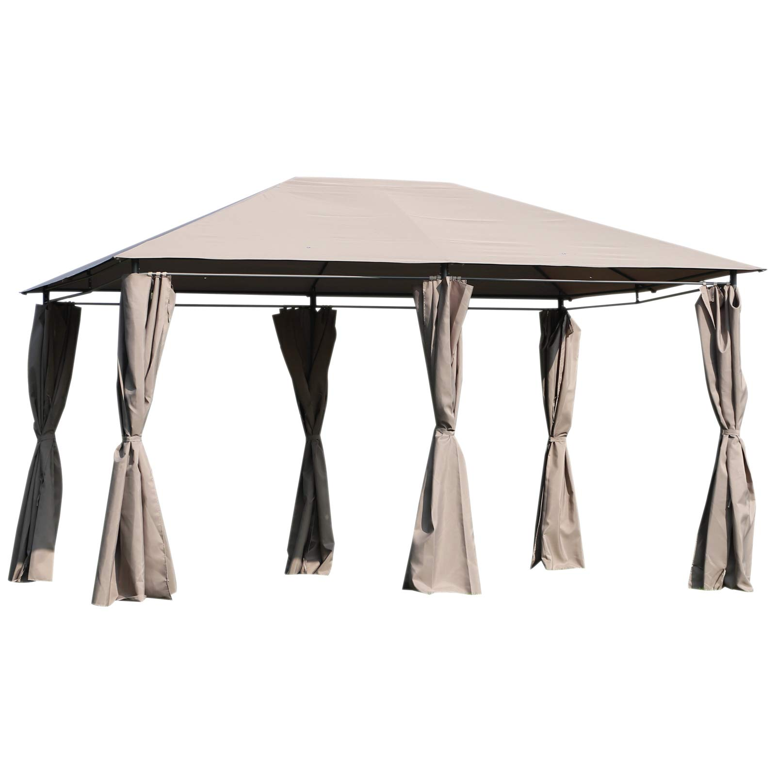 Outsunny 13' x 10' Steel Outdoor Patio Gazebo Pavilion Canopy Tent with Curtains - Khaki
