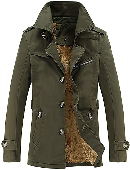 Fashion High Collar Plus Velvet Outwear Autumn Winter Pocket Button Slim Coat Tops OSTELY Mens Jacket
