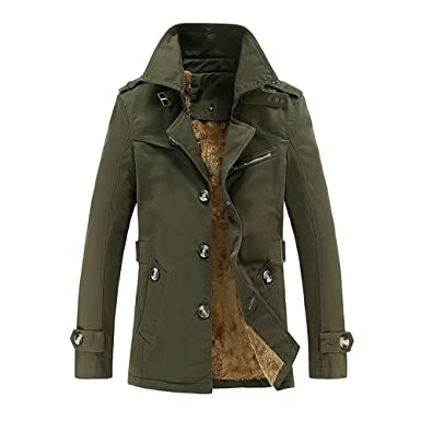 1c020fc5b81 Men Leather Jacket Winter, Vanvler Male Thermal Coat Faux Fur Lined Parka  Lapel Pocket Button Outwear Casual at Amazon Men's Clothing store: