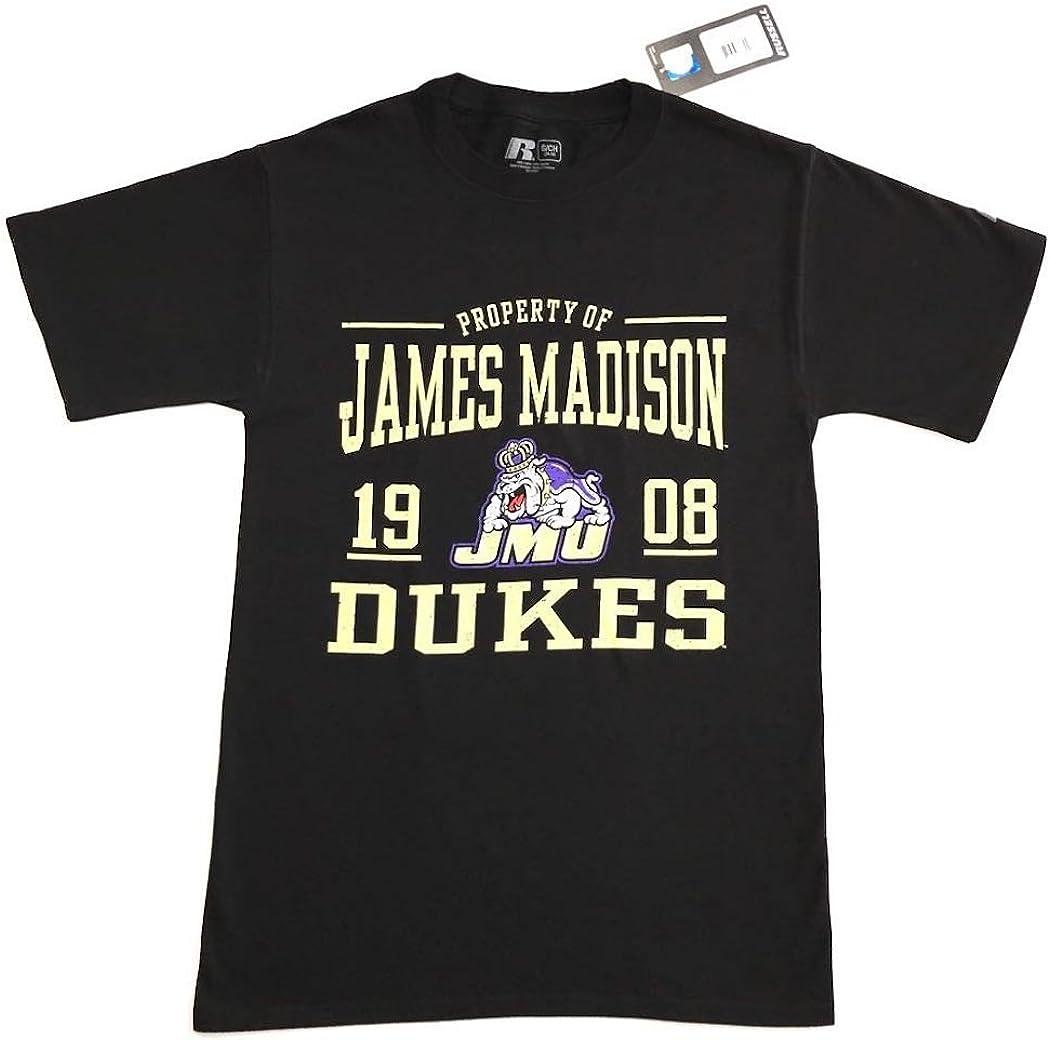 RussellApparel NCAA James Madison University Mens 1908 Dukes Cotton Crew Neck Tee Black
