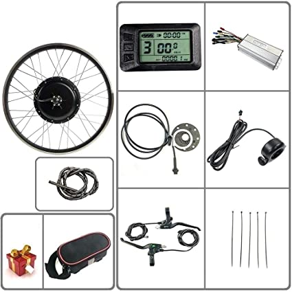 Schuck 48V 500W 20//24//26//27.5//28//29//700C Rear Wheel Electric Bicycle Conversion Motor Kit E-Bike Cycling with Brushless Gear Rear Hub Motor with LCD7 Display