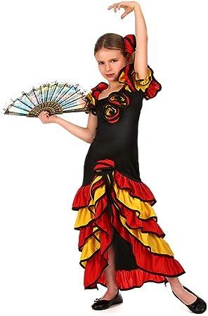 Generique - Disfraz de sevillana para niña L 10-12 años (130-140 ...