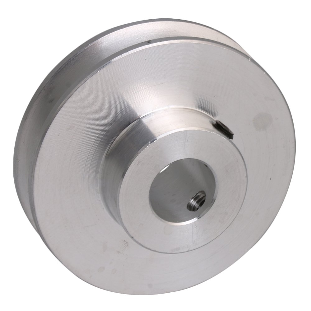 BQLZR 41x16x10MM Silver Aluminum Alloy Single Groove 10MM Fixed Bore Pulley for Motor Shaft 3-5MM PU Round Belt