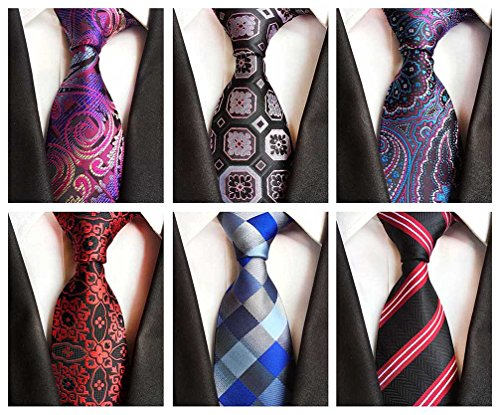 - BESMODZ 6 PCS Men's Exquisite Floral Tie Silk Necktie Luxury Plaid Neck Ties Set