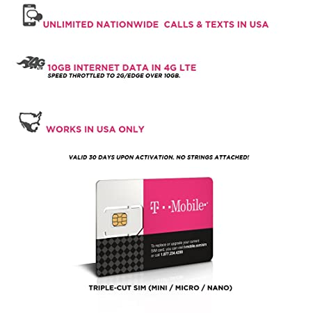 Prepaid Sim Karte Usa 10gb 4g Lte Unbegrenzte Amazonde Elektronik