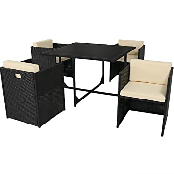 Attractive Sunnydaze Miliani 5 Piece Outdoor Dining Patio Furniture Set With Black  Wicker Rattan And Beige