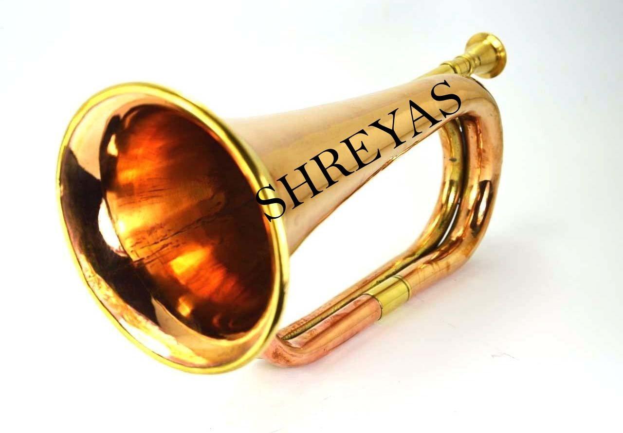 Civil War Era Solid Brass Bugle US Military Cavalry Horn New Srys01