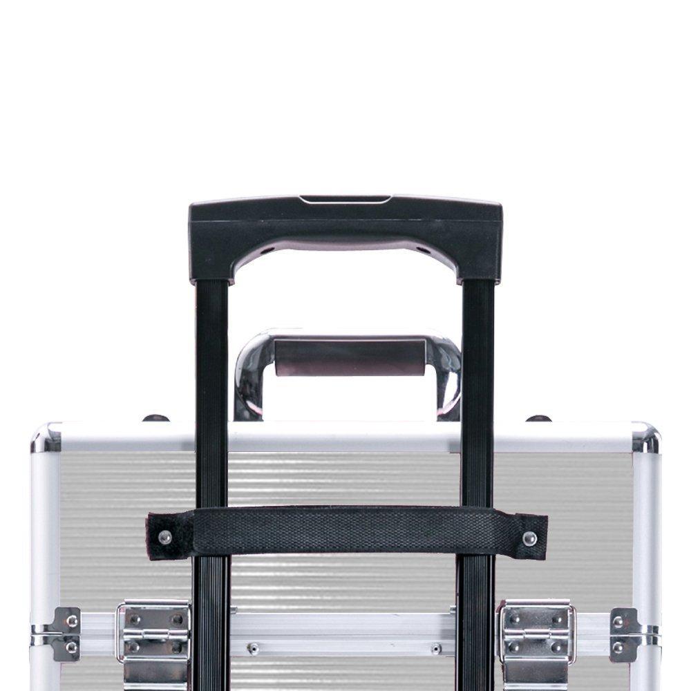 SAILUN 4 couches cas cosm/étiques beaut/é aluminium Maquillage Chariot avec le t/élescopique et 4 roues 350 Argent 250 770 mm