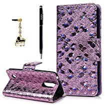 LG Aristo Case, LG Phoenix 3 / LG Fortune / LG LV3 / LG K8 2017 Wallet Case, YOKIRIN Luxury Bling 3D Relief Holographic Butterfly PU Leather Flip Cover with Wrist Strap Card Holders Cash Slots Bumper