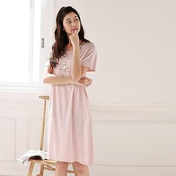 Pijamas de Algodón de Las Mujeres Falda de Las Mujeres Lindas Verano del Camisón de Manga