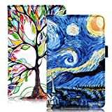 "YOMFUN Server Book for Waitress Book Organizer 2 Pack,Van Gogh Server Book Organizer Blue Waiter Book Server Wallet Guest Check Books Holder Fit Apron 5X7.7""(Starry Night, Love Tree)"