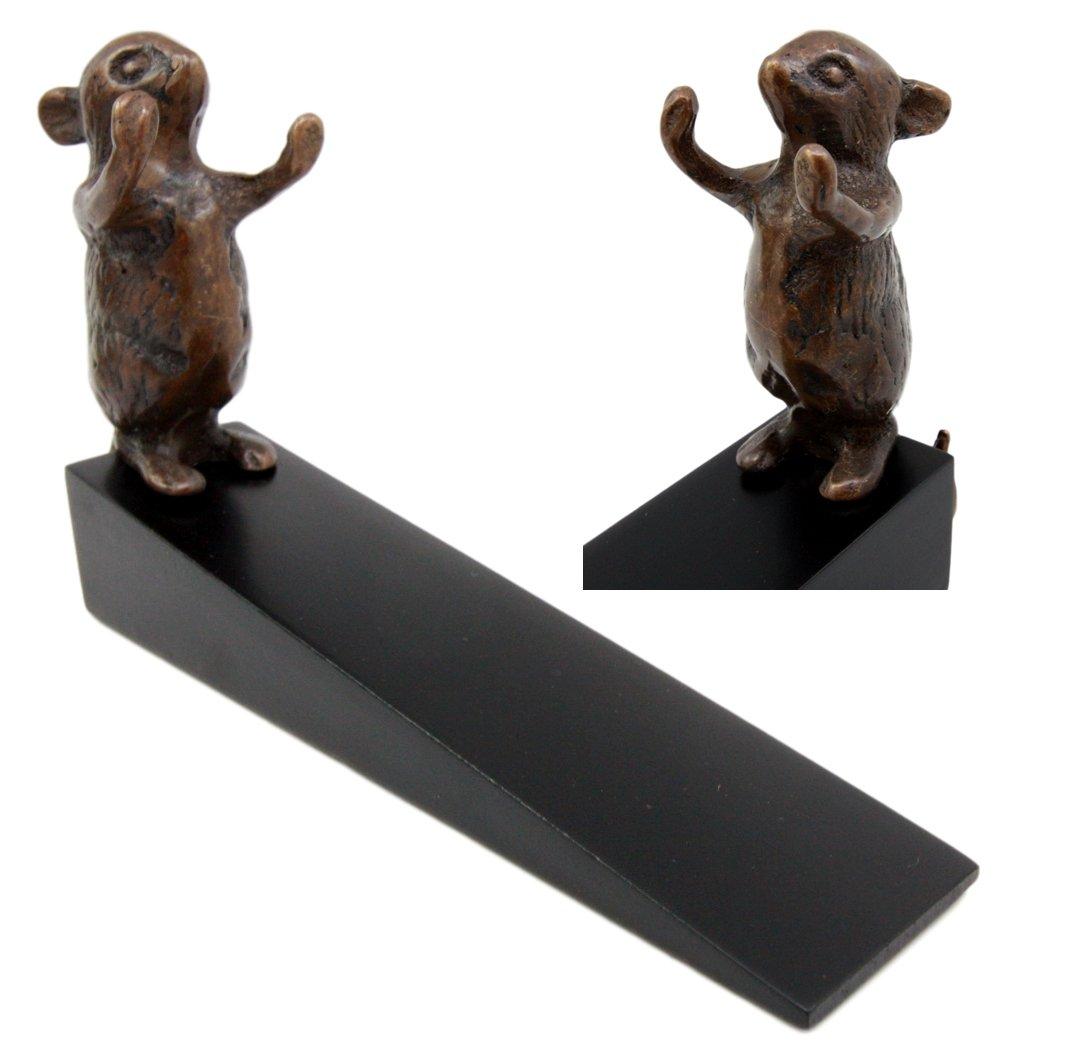 Atlantic Collectibles Brass Metal Whimsical Pet Mouse Door Stop Stopper Wedge Home Decor by Ebros Gift (Image #1)