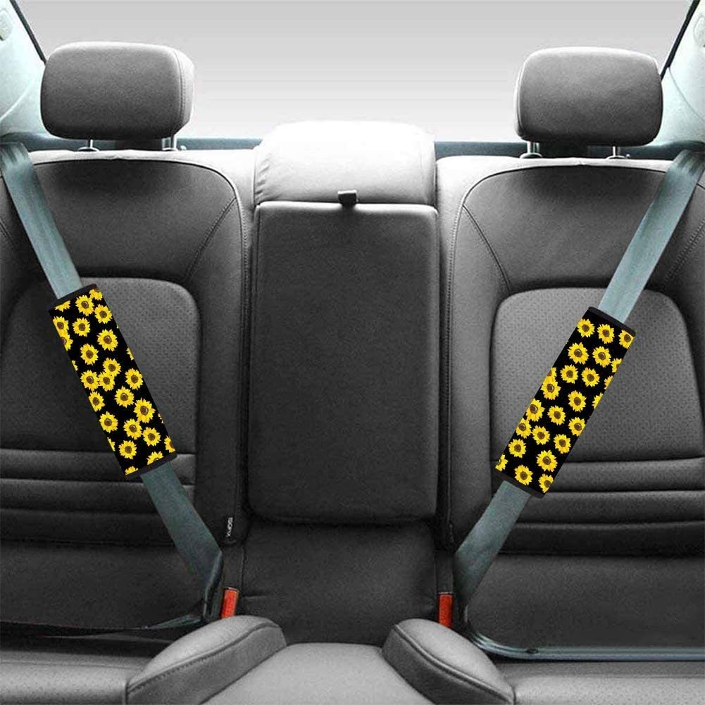 HUGS IDEA Fashion Animal Butterfly Design 2 Packs Auto Car Seat Belt Pads Cover Soft Comfort Seat Strap Headrest Neck Support Seatbelt Pillow for Children Baby