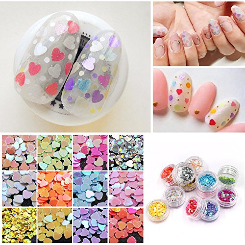 MEILINDS 12 Color Nail Art Glitter Paillette Sequins Heart Shape Acrylic UV Gel False Tips Decorations]()