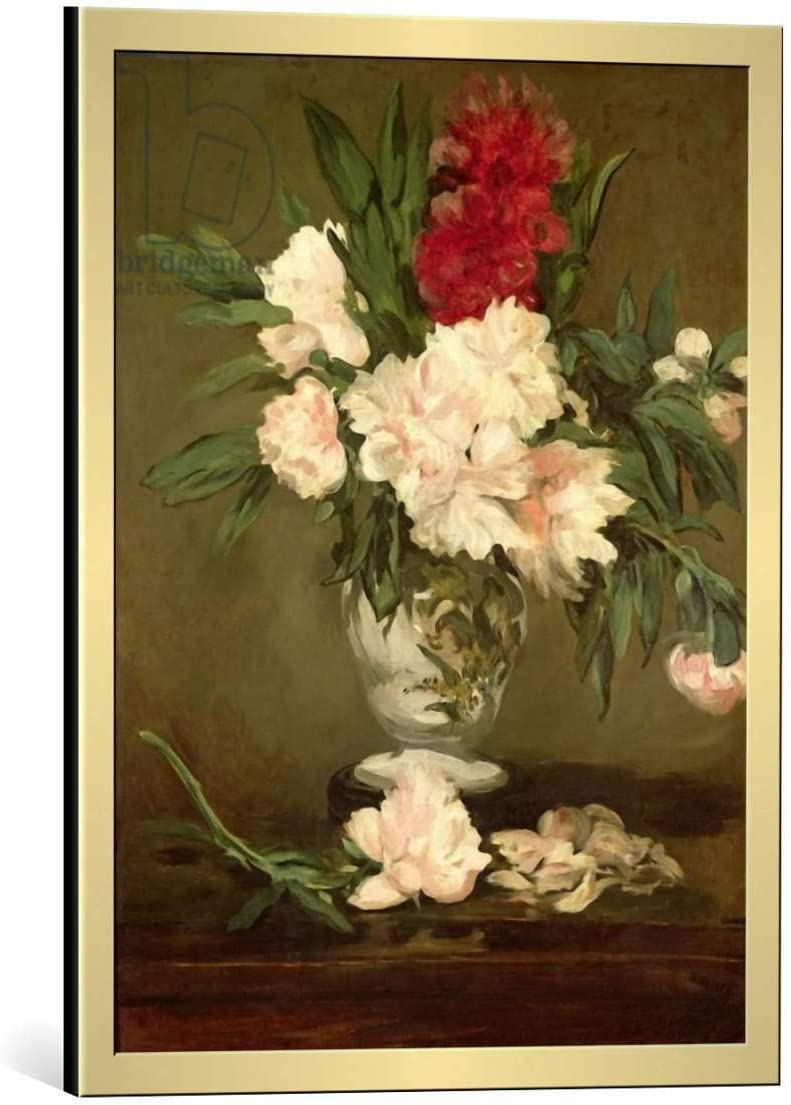 Kunst für Alle Cuadro con Marco: Edouard Manet Vase of Peonies on a Small Pedestal 1864