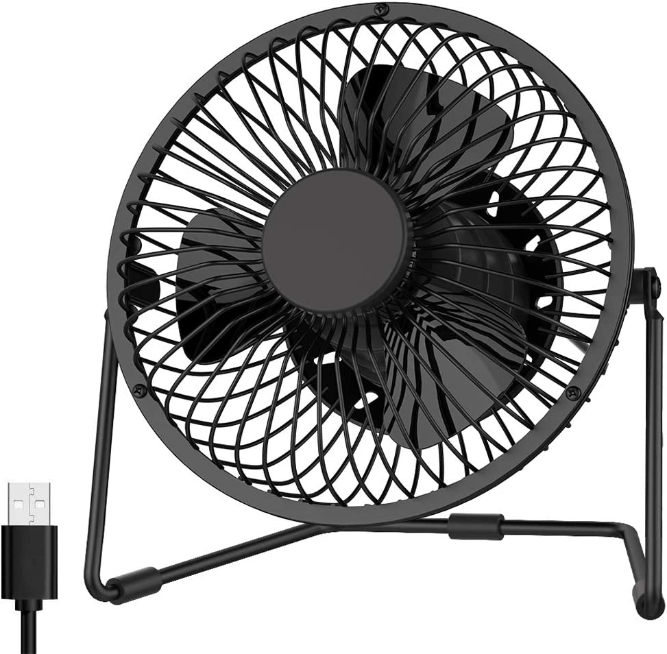 EasyAcc 5 inch USB Desk Fan, Low Noise Personal Table Mini Desk Metal Cooling Fan USB Powered Only Upgraded 2 Speeds 360° Rotation Floor Fans Enhance Airflow for Home Dorm Office Library Table-Black