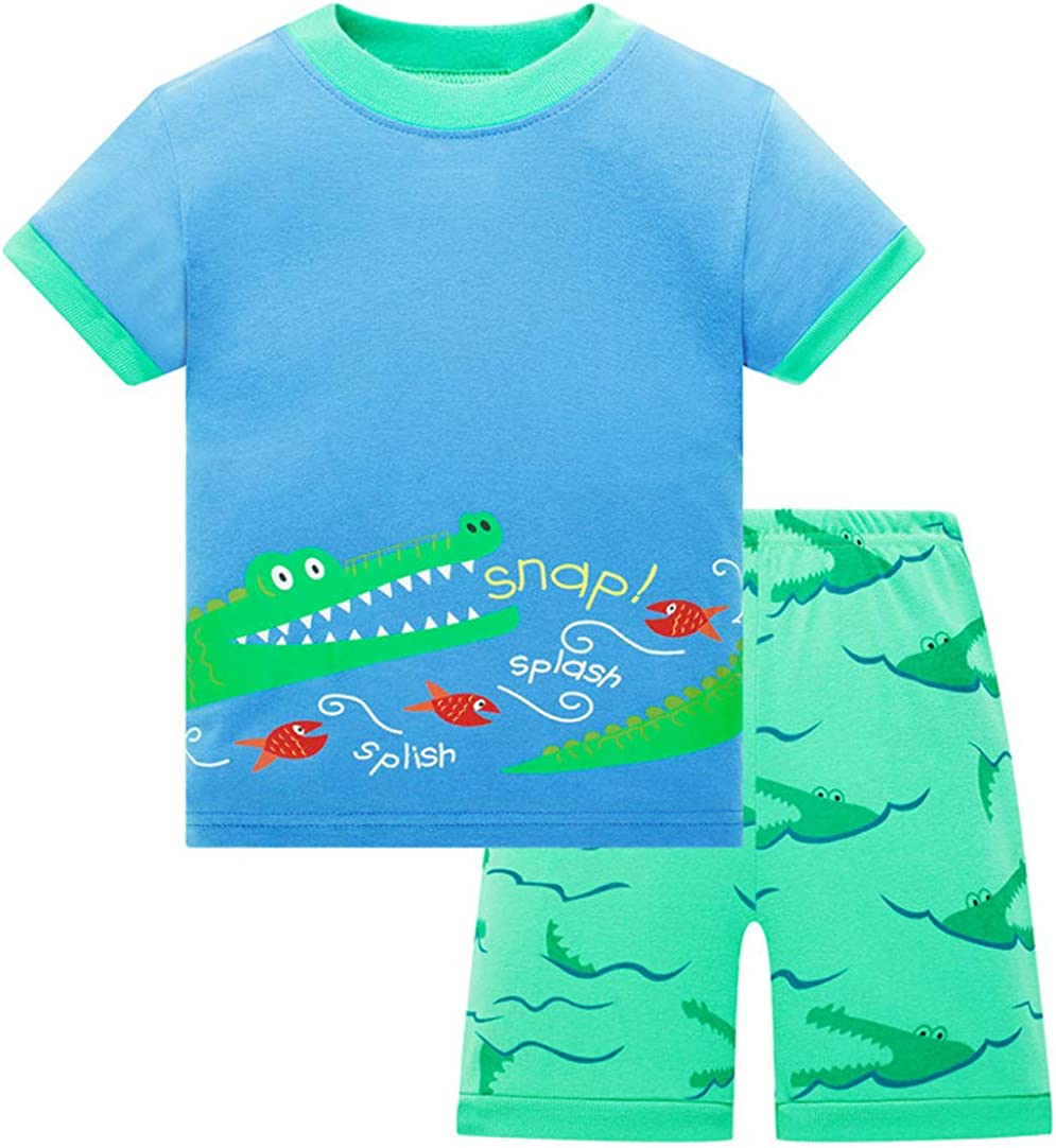 BABES HOME Boys and Girls Pajama 100/% Cotton Sleepwears Kids 2 Piece Clothes Set