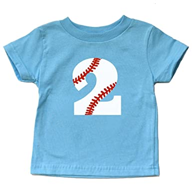 Second Birthday Baseball Shirt Toddler Boy Or Girl 2 Tshirt Kids Sports Party Two Trendy
