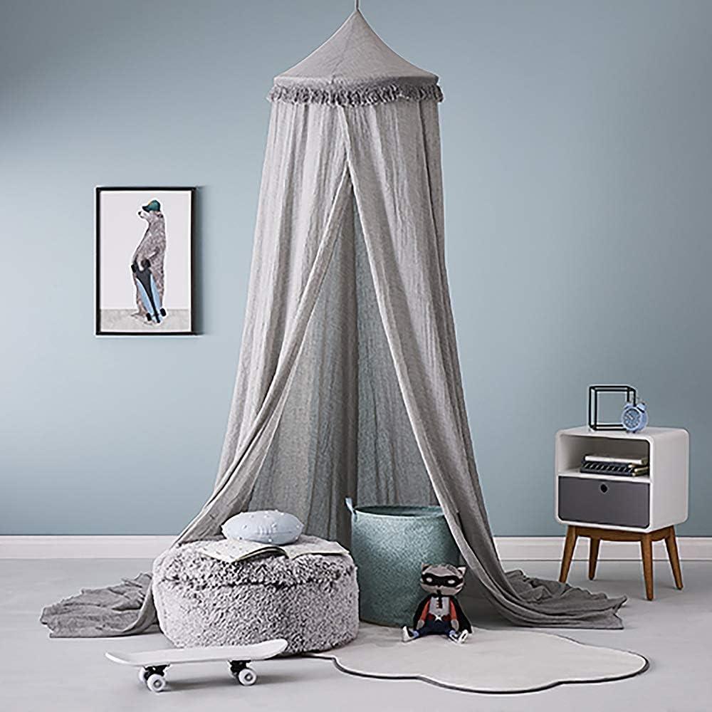 Jeux de Maison Tente de Jeu pour Enfants d/écoration de Chambre moustiquaire en Coton Lecture Topelec Ciel de lit pour Enfants en Forme de d/ôme Rond