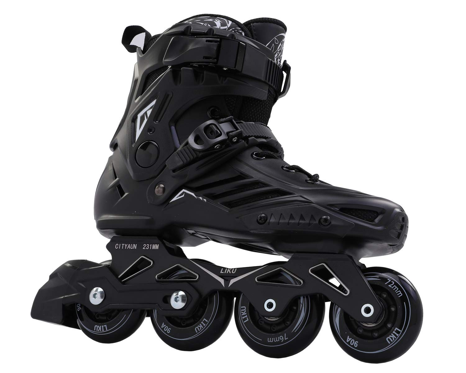 LIKU Fitness Professional Inline Roller Skates Women Men Adult Youth Black (Men 8,Women 9)